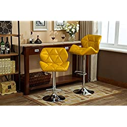 Roundhill Furniture PC190YL Glasgow Contemporary Tufted Adjustable Height Hydraulic Bar Stools, Set of 2, Yellow