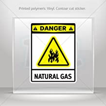 Sticker Danger Natural Gas Car door Hobbies Sports car Durable Racing (8 X 6.12 Inches)