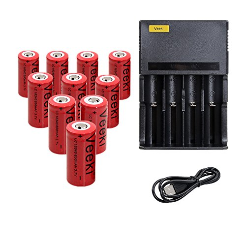 CR123A Rechargeable Battery And 4-Slots Universal Battery Charger, Veeki 16340 RCR123A 3.7V 650mAh Protected Li-ion 16340 Batteries 10Packs for High Drain Device (4S+10Battery)