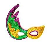 Yellow Golden Green Glitter Mask Mardi Gras Masquerade