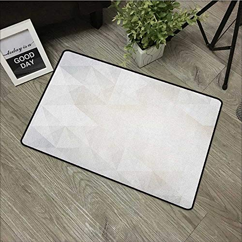 Learning pad W35 x L47 INCH Grey and White,Polygon Art Stylized Geometrical Forms Contemporary Art Inspired Design, Pale Grey White with Non-Slip Backing Door Mat Carpet