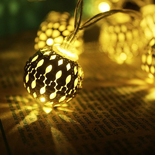 Sunniemart 20 Led Morocco Ball Warm White String Lights Solar Christmas Lights for Patio, Garden and Lawn (Round Ball)