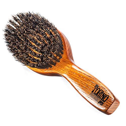 Torino Pro Wave Brush #1130 - By Brush King - Medium Hard Oval Palm/Military with Long Handle 360 Waves Brush