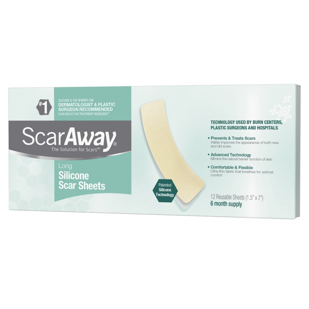 ScarAway Long Silicone Scar Treatment Sheets, Ideal for Larger and Longer Scars, 12 Multi-Use Adhesive Soft Fabric Strips, 1.5 in. x 7 in. by ScarAway