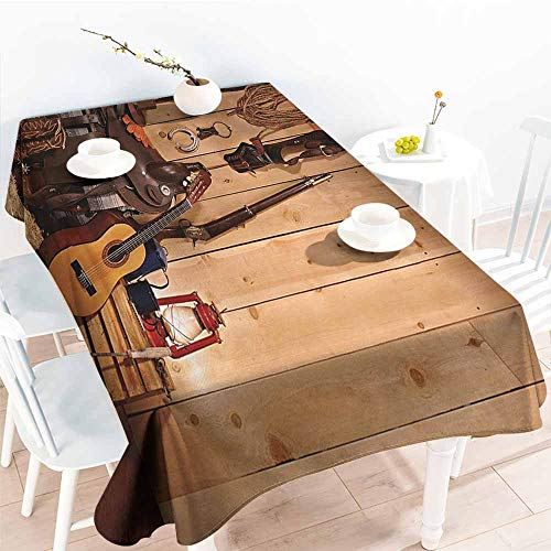 Homrkey Polyester Tablecloth Western Decor American Texas Style Country Music Guitar Cowboy Boots USA Folk Culture Cream and Brown Party W52 xL72