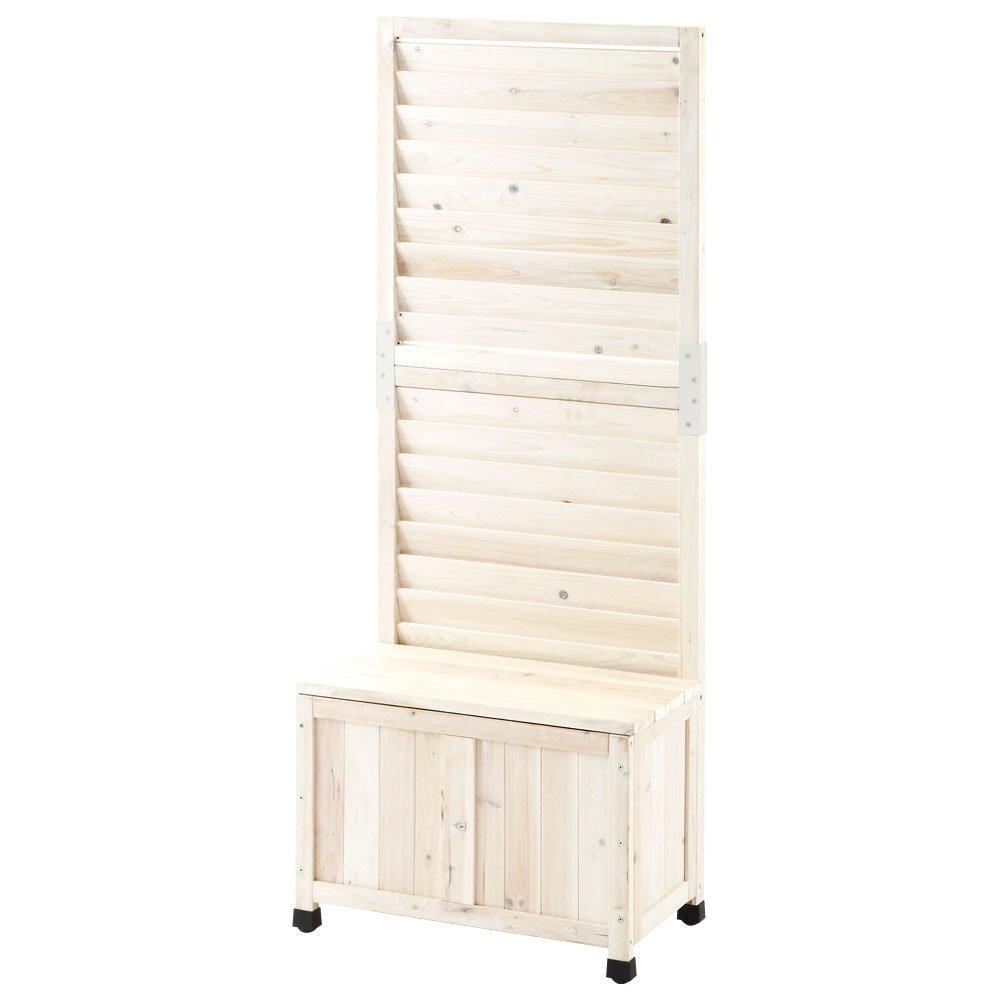 ガーデンフェンス プランター付き 木製 庭フェンス ラティス 目隠し 日除け 屋外 60×150cm ルーバーWH B01D9O3F14 12800  ルーバーWH お客様組み立て