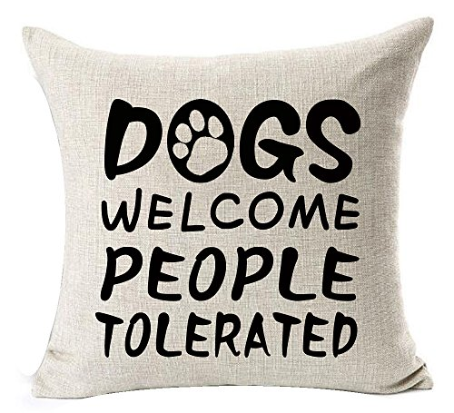 Best Dog Lover Gifts Nordic Sweet Funny Sayings Dogs Welcome People Tolerated Paw Prints Cotton Linen Throw Pillow Case Cushion Cover NEW Home Decorative Square 18 Inches (Dogs People Tolerated)