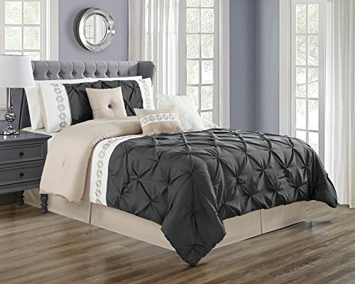 5 Pieces TWIN size DARK GREY / GREY / GRAY Double-Needle Stitch Pinch Pleat All-Season Bedding-Goose Down Alternative Embroidered Comforter - Blue Gray Dark