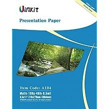 Presentation Paper Double Sides Matte - 100Sheets 8.5x11 Inkjet Photo Paper 8.5Mil 180G For Inkjet Printing Matt Uinkit (A104)