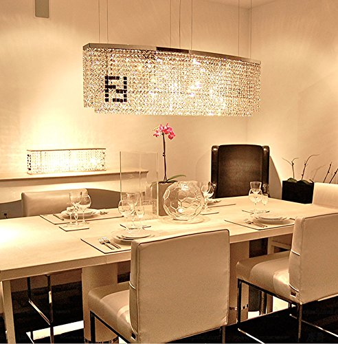 Siljoy Modern Crystal Chandelier Dining Room Rectangular Oval Chandeliers Lighting Island Pendant Lamp, H16