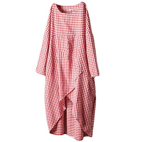 (Kulywon Fashion Womens Plus Size Casual O-Neck Lattice Cotton and Linen Easy Dress Red)