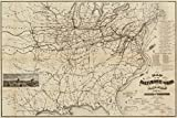 1878 Rail Road Map w/ branches & connections. distances to Baltimore & New York, Ohio River bridges, list of officials - 18x24 - Ready to Frame