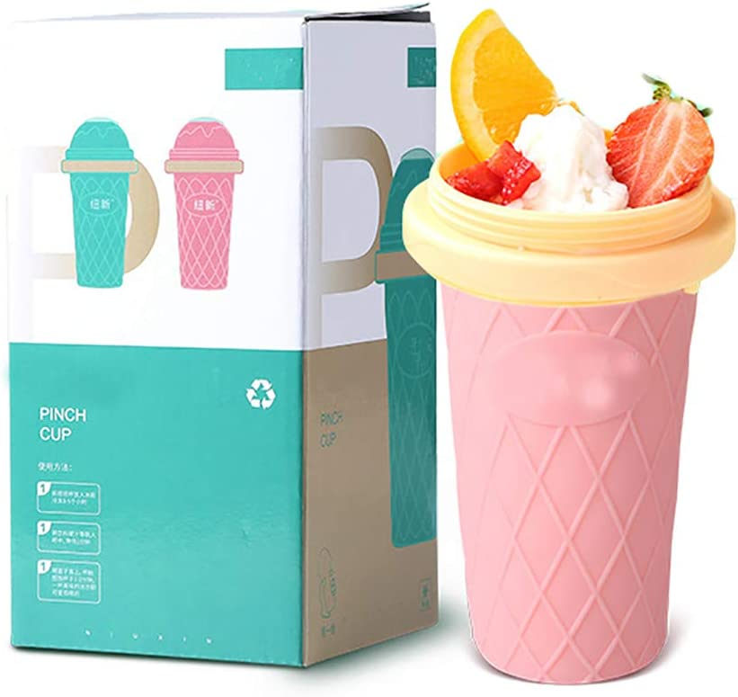 ICECON Smoothie Maker, Simple No Electricity DIY Smoothie Blender Cup with Straw, Double-Layer Silica Gel Quick Cooling Freeze Mug with Food-Grade Frozen Liquid, Easy to Make by Hand,Pink