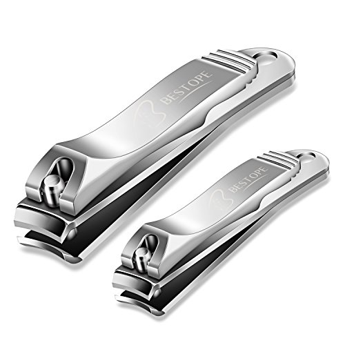 BESTOPE Nail Clippers Set Fingernail and Toenail Clipper Cutter,2PCS Stainless Steel Sharp Sturdy trimmer set for Men and Women
