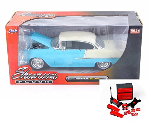 - Diecast Car & Mechanic Set Package - 1955 Chevy Bel Air Hard Top, Turquoise Blue - Jada 98886-MJ - 1/24 Scale Diecast Model Toy Car w/Mechanic Set