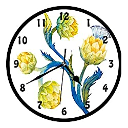 Artichoke, Floral Bouquet Artichokes Botanical Abstract Vivid Colored Artwork,Wall Clock Nice For Gift or Office Home Unique Decorative Clock Wall Decor 12in with Frame, Yellow and Violet Blue