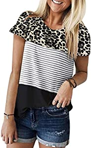 ZAWAPEMIA Womens Striped Tshirt Triple Color Block Short Sleeve Casual Blouse