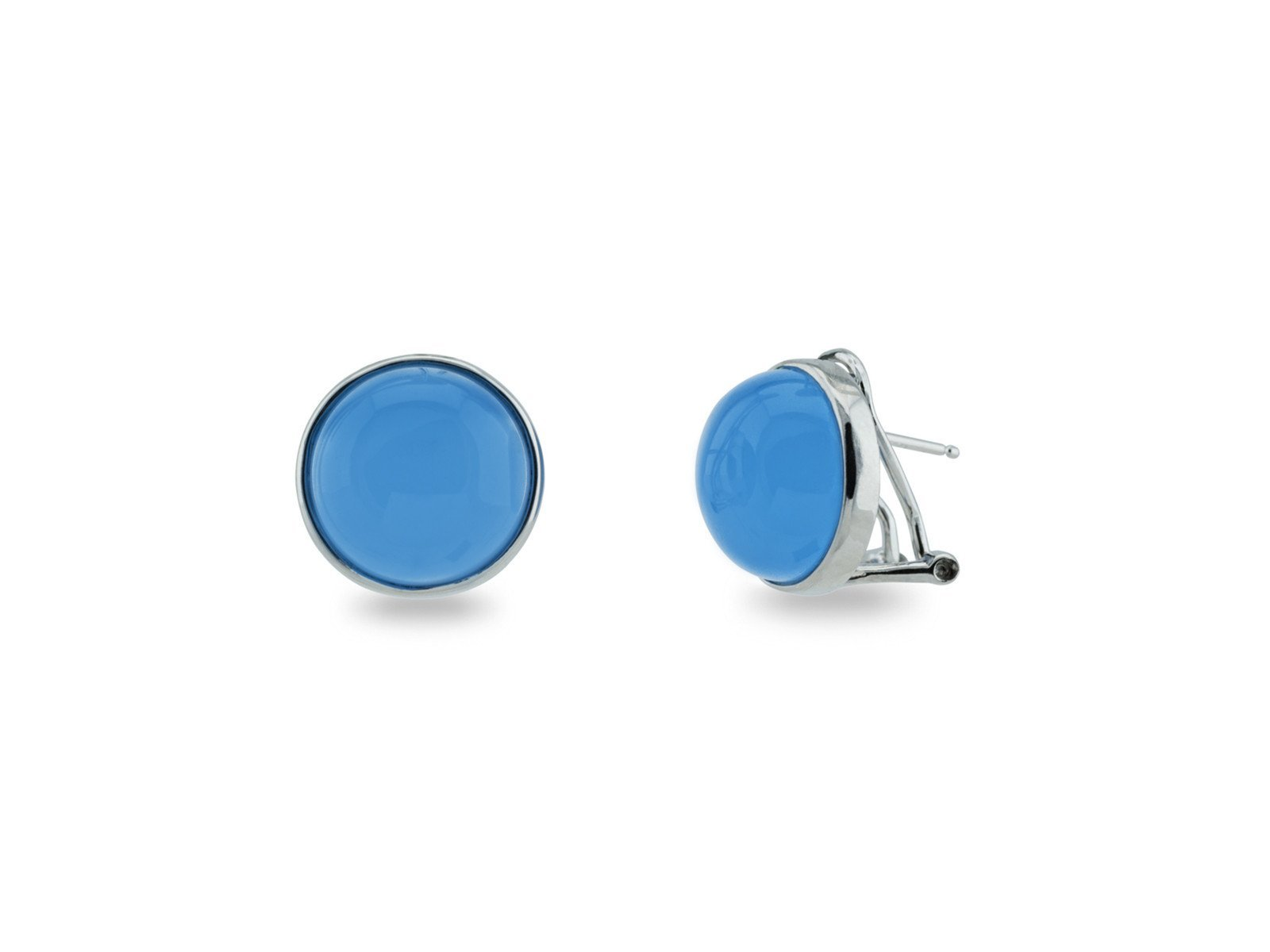 FRONAY Sterling Silver Synthetic Blue Chalcedony Cabuchon Omega Clip Earrings