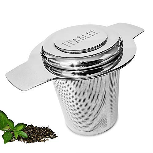Teablee Tea Strainer for Loose Leaf Tea   Large 304 Stainless Steel Extra-Fine Mesh Brew-in-Mug Basket   Helps Make Brewing Loose Tea Easy ()