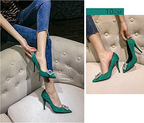 et sexy 39 États 10cm talons femmes parti bleu vertes paillettes profondes peu Chaussures Vert Europe les boucle les taille strass Bleu Unis hauts Couleur pointus fwEIHqg