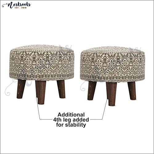 Nestroots Stool for Living Room Sitting Printed Ottoman upholstered Foam Cushioned pouffe Puffy for Foot Rest Home Furniture with 4 Wooden Legs Cotton Canvas (14″ inch Height Grey Set of 2)