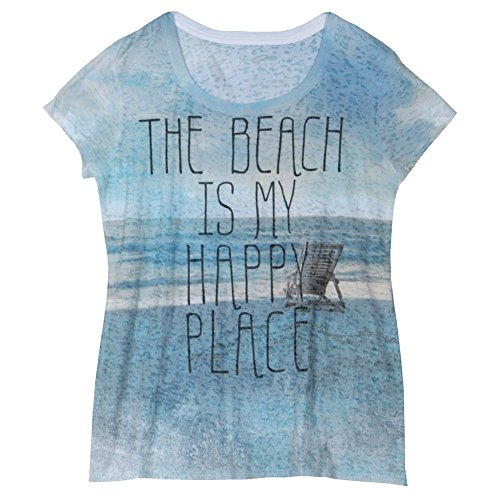 Women's T-Shirt - The Beach is My Happy Place Short Sleeve Burnout Tee - XL