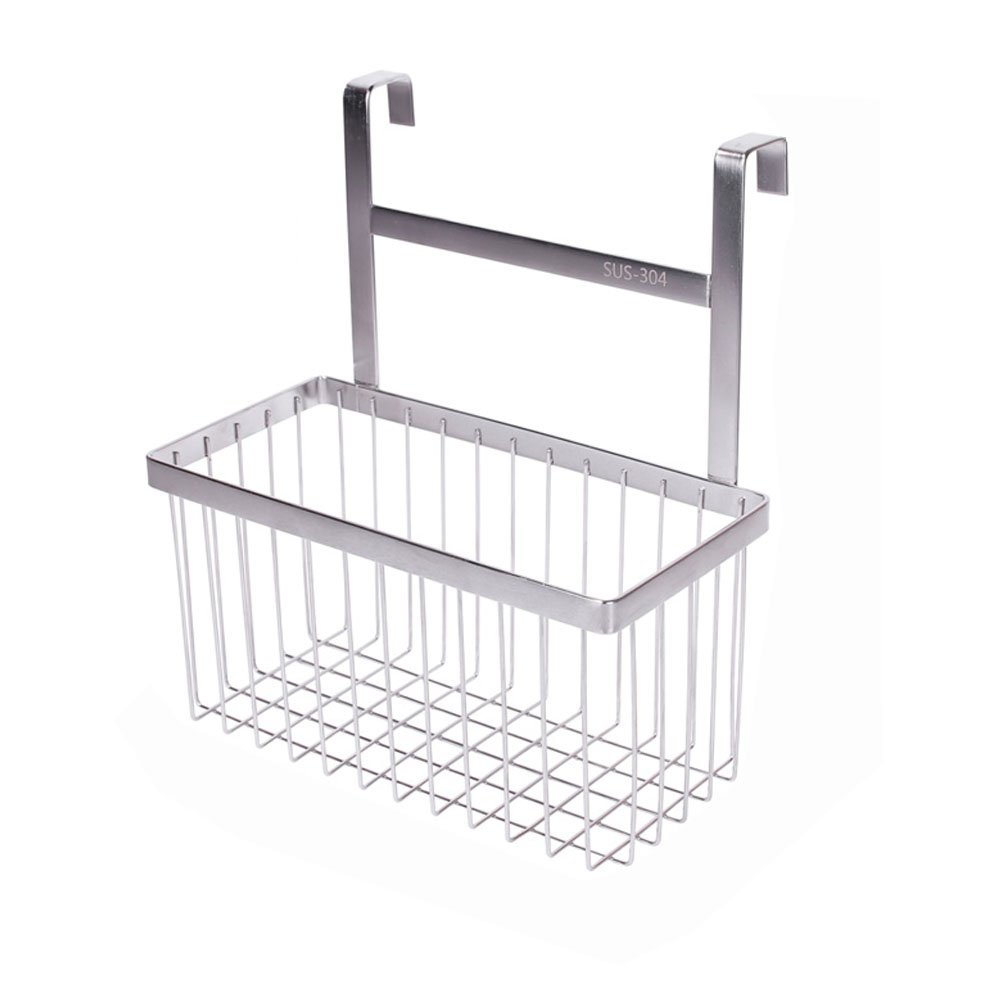 Over The Cabinet Kitchen / Bathroom Storage Organizer Basket Rack, Sandwich Bags, Cleaning Supplies - Large, Stainless Steel