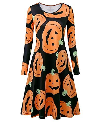 ABYOXI Women Halloween Long Sleeve Pumpkin Printed Swing A-line Funny Party Midi Dresses with Pocket