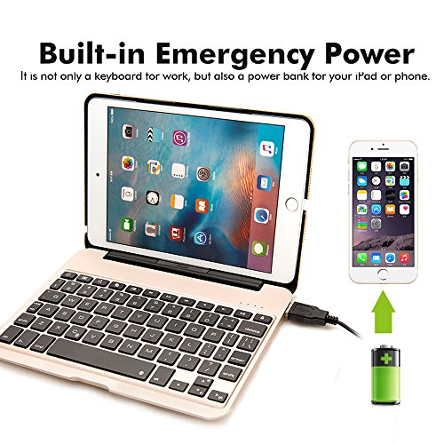 iPad Mini 4 Keyboard Case, iEGrow F04 7 Colors Backlit Slim Aluminum Bluetooth Keyboard with Protective Clamshell Case Cover and 2800 mAh External Battery for iPad Mini 4 Model A1538/A1550