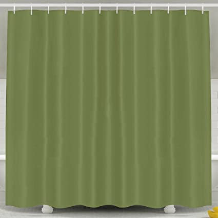 FDSIO Waterproof Shower Curtain Dark Green With Hooks60x72 Inch