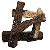 Regal Flame 5 Piece Set of Ceramic Wood Large Gas Fireplace Logs Logs For All Types of Indoor, Gas Inserts, Ventless & Vent Free, Propane, Gel, Ethanol, Electric, or Outdoor Fireplaces & Fire Pits.