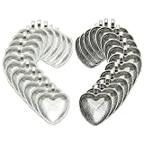 30 Counts Heart Bezels Silver Pendant Trays with 30 Counts Glass Cabochon Heart Dome Tiles for Jewelry Making, 60 Counts by SHXSTORE