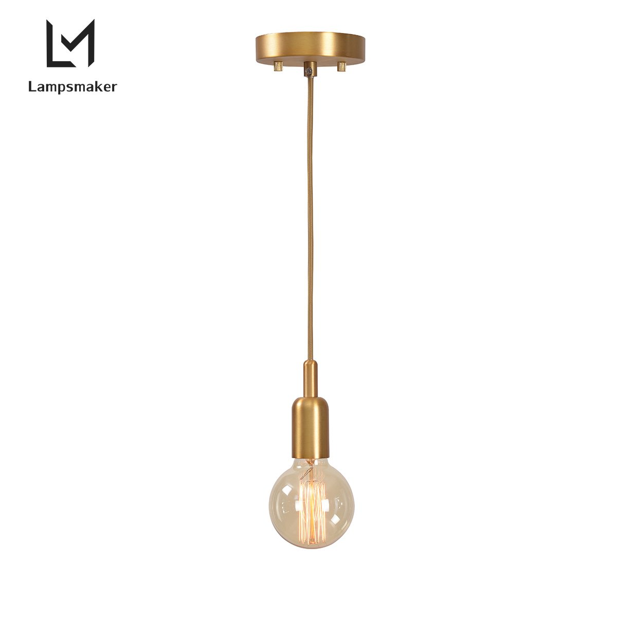 Lampsmaker E26 Light Socket Vintage Ceiling Hanging Light Fixtures,Mental Base Pendant Kit Textile Cord Lamp Holder With Home(Not Bulb) 82845POL-AMB (Brass)