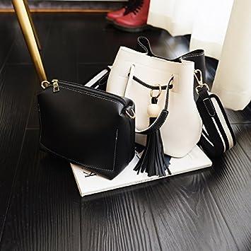 d0d700f8b9c3a OME QIUMEI Tasche Tasche Breitband Bucket Bag Schultertasche Handtasche  Crossbody Bag Schwarz