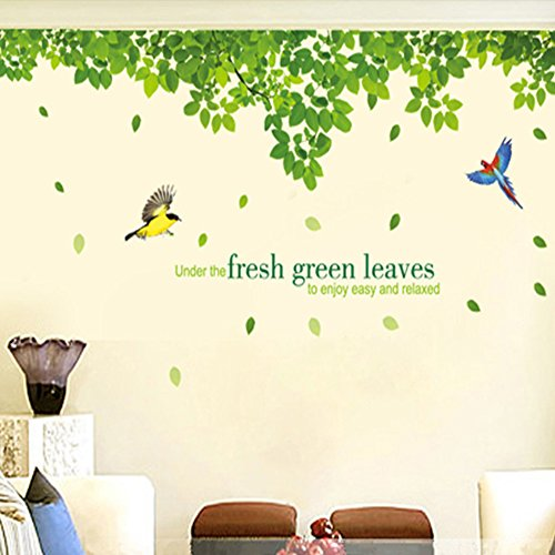 Kaimao Extra Huge DIY Fresh Green Leaves & Birds Wall Decals Removable Wall Stickers for Home, Kids, Living Room