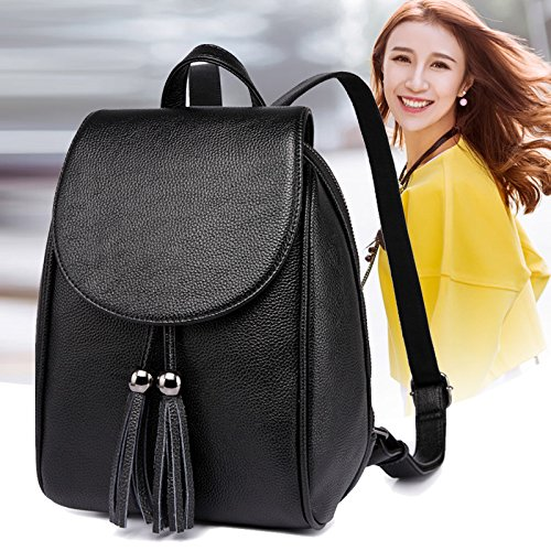 Tassel Bag Leisure Black Mujer BAILIANG Patrón Shoulder Litchi Mochila 2018 Fashion zqFIIX4w