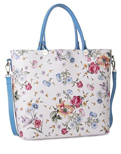 Big Handbag Shop , Damen Tote-Tasche Floral White - Sky Blue Trim