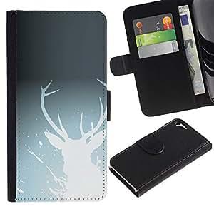 """A-type (White Deer"""") Colorida Impresión Funda Cuero Monedero Caja Bolsa Cubierta Caja Piel Card Slots Para Apple iPhone 5 / iPhone 5S"""