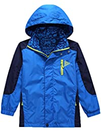 Boys' Lightweight Rain Jacket Quick Dry Waterproof Hooded Coat