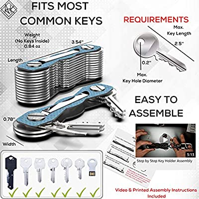 Carbon Fiber Compact Key Holder - Premium Heavy-Duty Key Organizer UP to 28 Keys -B0NUS Keychain Holder with Loop Piece for Belt or Car Keys - SIM & Bottle Opener + Video Instructions (Blue Carbonn): Office Products