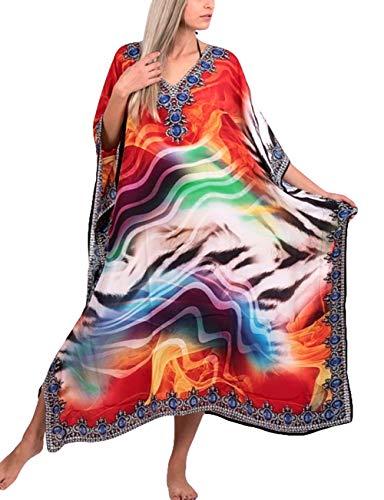 - Bsubseach Women Loose Multicolor Print Beach Kaftan Dress Batwing Sleeve Long Swimsuit Cover Up