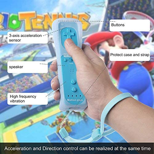 CooleedTEK Wii Remote Controller, Remote Plus Controller and Nunchuk Controller for Nintendo Wii and Wii U, with Silicon Case (Blue) 9