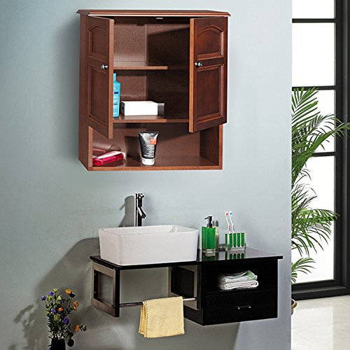 (Traditional Design Lindo 2-Door Contermporary Weathered Walnut Wood Finish Wall Cabinet by Elegant Home Fashions)
