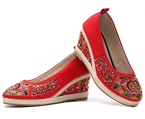 HUAN Zapatos Bordados Mujeres y Señoras Zapatos de Cuentas Hechos a Mano Tacón de Pendiente de Estilo Chino A
