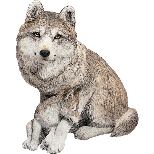 Sandicast Figurine - Sandicast Forever Friends Gray Wolf and Pup Sculpture, Sitting