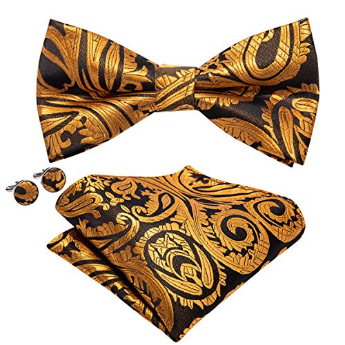 (Barry.Wang Mens Bow Tie Pocket Square Cufflinks Set Gold Black Paisley Necktie)