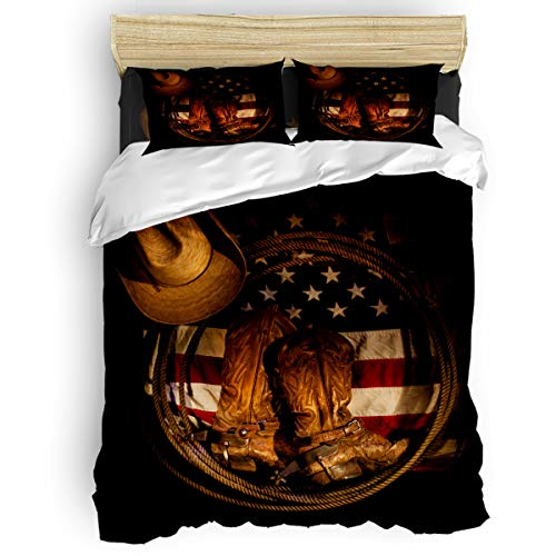 LOVE HOME DAY American West Cowboy Bedding Sets King Size Ultra Soft 4 Pieces Duvet Cover Set with Bed Decorative 2 Pillow Shams Bedspread Bed Sheets Patriotic USA Flag (Sham King Cowboy)