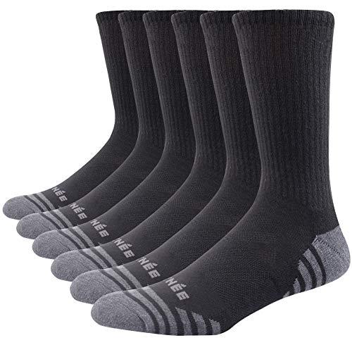 JOYNÉE Men's 3 Pack Athletic Performance Cushion Crew Socks for Training,Black,Sock Size:10-13