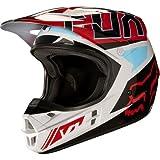 Fox Racing Adult V1 2017 Motocross Helmet Falcon Grey / Red 2XL XXL
