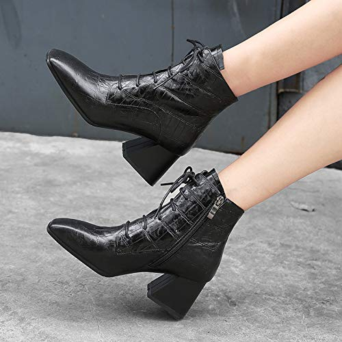 Women Heels High Square Fashion Zipper Ladies Block Heels Black Toe Lace Genuine Ankle Leather up Boots YqOFqIwRP